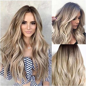 cheap Synthetic Trendy Wigs-Synthetic Wig Curly Middle Part Wig Very Long Light golden Synthetic Hair 26 inch Women's Ombre Hair curling Fluffy Brown