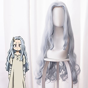 cheap Anime Costumes-My Hero Academia Boko No Hero Cosplay Wigs Women's Asymmetrical 40 inch Heat Resistant Fiber Curly Gray Adults' Anime Wig