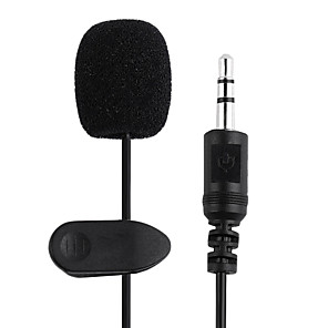 cheap Microphones-2PCS 1.5M 3.5mm Black Mini Studio Speech Mic Microphone Clip On Lapel for PC Notebook