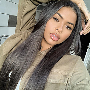 cheap Human Hair Wigs-Remy Human Hair 4x4 Closure Wig style Brazilian Hair Natural Straight Natural Wig 150% Density New Arrival Women's Long Medium Length Very Long Human Hair Lace Wig