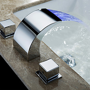 cheap Bathroom Sink Faucets-Bathroom Sink Faucet - LED / Widespread / Waterfall Chrome Deck Mounted Two Handles Three HolesBath Taps