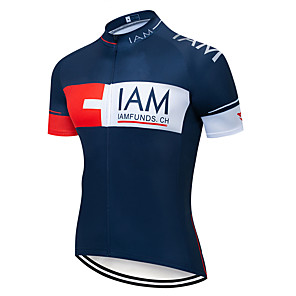 cheap Cycling Jerseys-21Grams Men's Short Sleeve Cycling Jersey Polyester White Red Blue Switzerland National Flag Bike Jersey Top Mountain Bike MTB Road Bike Cycling UV Resistant Breathable Quick Dry Sports Clothing