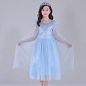 cheap Movie & TV Theme Costumes-Princess Elsa Dress Flower Girl Dress Girls' Movie Cosplay A-Line Slip Blue Dress Children's Day Masquerade Tulle Polyester