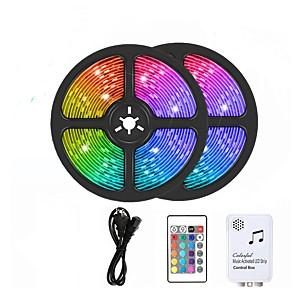 cheap LED Strip Lights-10m LED RGB Strip Light Set Music Remote Controls 300 LEDs 5050 SMD 10mm TikTok Light 12V 6A Adapter 24Keys Remote Controller 1 set RGB Waterproof Cuttable Party 110-240 V