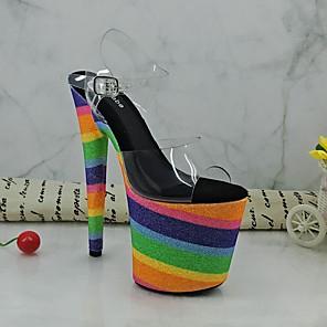 cheap Women's Sandals-Women's Sandals Summer Stiletto Heel Open Toe Daily PU Blue / Rainbow / Clear / Transparent / PVC
