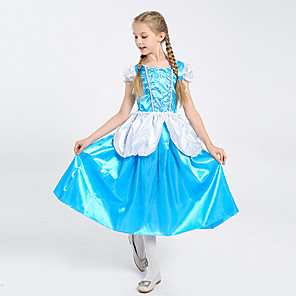 cheap Movie & TV Theme Costumes-Princess Cinderella Dress Flower Girl Dress Girls' Movie Cosplay A-Line Slip Blue Dress Children's Day Masquerade Tulle Polyester