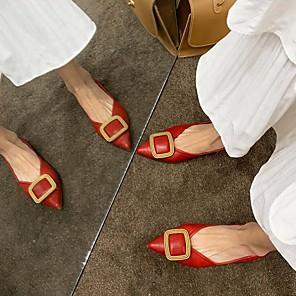 cheap Women's Sandals-Women's Flats Summer Flat Heel Pointed Toe Daily PU Black / Red / Beige