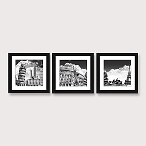 cheap Abstract Paintings-Framed Art Print Framed Set Famous Ancient Buildings in Europe Landscape Scenic PS Illustration Wall Art