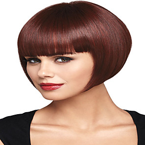 cheap Synthetic Trendy Wigs-Synthetic Wig kinky Straight With Bangs Wig Short Burgundy Synthetic Hair 12 inch Women's Simple Fashionable Design Classic Burgundy