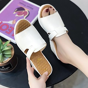 cheap Women's Sandals-Women's Sandals Wedge Sandals 2020 Spring &  Fall / Spring & Summer Wedge Heel Open Toe Casual Minimalism Daily Party & Evening PU White / Black / Blue