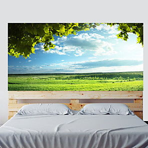 cheap Wall Stickers-3D Trees Grass Blue Sky Living Room Tv Background Wall Stickers Bedroom Bedside Art Decoration Art Ornament Wallpaper Sticker 1 set 2pcs