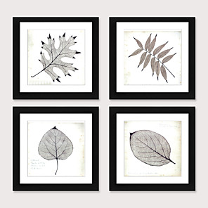 cheap Framed Arts-Framed Art Print Framed Set 4 - Boreal Europe Style Plant Specimens PS Illustration Wall Art