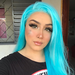 cheap Synthetic Lace Wigs-Synthetic Lace Front Wig Straight Gaga Middle Part Lace Front Wig Long Sky Blue Synthetic Hair 22-26 inch Women's Heat Resistant Women Hot Sale Blue / Glueless