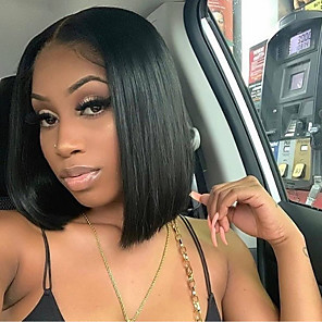 cheap Synthetic Lace Wigs-Synthetic Lace Front Wig Straight Minaj Middle Part Lace Front Wig Short Black#1B Synthetic Hair 14-16 inch Women's Heat Resistant Women Hot Sale Black / Glueless