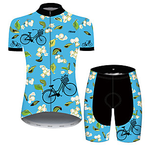 cheap Cycling Jersey & Shorts / Pants Sets-21Grams Women's Short Sleeve Cycling Jersey with Shorts Blue Floral Botanical Bike Clothing Suit Breathable 3D Pad Quick Dry Ultraviolet Resistant Reflective Strips Sports Patterned Mountain Bike MTB