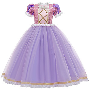 cheap Movie & TV Theme Costumes-Princess Sofia Rapunzel Dress Flower Girl Dress Girls' Movie Cosplay A-Line Slip Purple Dress Children's Day Masquerade Tulle Sequin Cotton