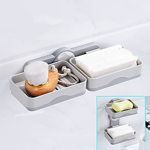 cheap Bath Body Care-Soap Dishes Box Wall Zeep Houder Shower Soap Tray Holder for Bathroom Double layer Storage Basket Soap rack Shelf Kitchen Tools