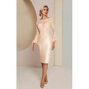 cheap Wedding Wraps-Sheath / Column Mother of the Bride Dress Elegant Vintage Plus Size Jewel Neck Knee Length Lace Satin Long Sleeve with Lace 2020
