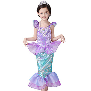 cheap Movie & TV Theme Costumes-The Little Mermaid Princess Dress Flower Girl Dress Girls' Movie Cosplay A-Line Slip Purple Dress Children's Day Masquerade Satin / Tulle