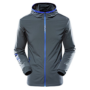 cheap Softshell, Fleece & Hiking Jackets-Men's Windbreaker Rain Jacket Running Skin Jacket Long Sleeve Elastane UV Sun Protection Quick Dry Water Resistant Performance Running Training Sportswear Top White Blue Dark Gray Green Light gray