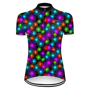 cheap Cycling Jerseys-21Grams Women's Short Sleeve Cycling Jersey Nylon Polyester Black / Red Gradient Floral Botanical Bike Jersey Top Mountain Bike MTB Road Bike Cycling Breathable Quick Dry Ultraviolet Resistant Sports