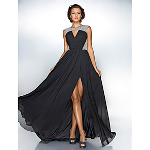 cheap Evening Dresses-A-Line Celebrity Style Black Prom Formal Evening Dress Jewel Neck Sleeveless Sweep / Brush Train Chiffon Sequined with Sequin Split 2020