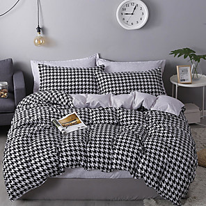 cheap Duvet Covers-Houndstooth Bedding Black White Bedding Sets Hounds Tooth Check Duvet Cover Sets Cotton Bedding Geometric Pattern Printed Single Full Queen King Size