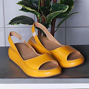 cheap Women's Sandals-Women's Sandals Flat Sandal 2020 Spring &  Fall / Spring & Summer Flat Heel Open Toe Sweet Minimalism Daily Outdoor PU White / Yellow / Pink