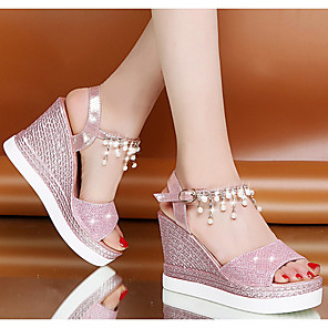 cheap Women's Sandals-Women's Sandals Wedge Sandals Summer Wedge Heel Peep Toe Daily PU Pink / Gold / Silver