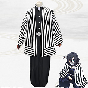 cheap Anime Costumes-Inspired by Demon Slayer: Kimetsu no Yaiba Anime Cosplay Costumes Japanese Cosplay Suits Coat Top Pants For Men's / Waist Belt