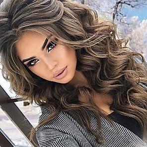 Недорогие Парик из искусственных волос без шапочки-Парики из искусственных волос Естественные кудри Ассиметричная стрижка Парик Короткие Очень длинный Бежевый Искусственные волосы 26 дюймовый Жен. Модный дизайн вьющийся пушистый Коричневый