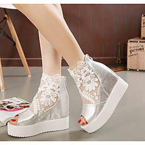 cheap Women's Sandals-Women's Sandals Wedge Sandals Summer Creepers Peep Toe Daily PU White / Black / Silver