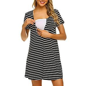 cheap Clearance-Women's A-Line Dress Knee Length Dress - Short Sleeves Striped Summer Work 2020 Black S M L XL XXL