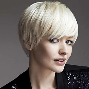 cheap Synthetic Trendy Wigs-Synthetic Wig Curly Matte Pixie Cut Wig Short Creamy-white Synthetic Hair 6 inch Women's Easy dressing Cool Comfy White