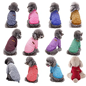 cheap Dog Clothes-Dog Sweater Stripes Winter Dog Clothes Purple Red Dark Purple Costume Woolen XS S M L XL