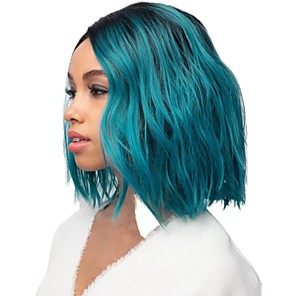 cheap Synthetic Trendy Wigs-Synthetic Wig Curly Matte Side Part Wig Long Black / Blue Synthetic Hair 14 inch Women's Cool Ombre Hair Fluffy Blue