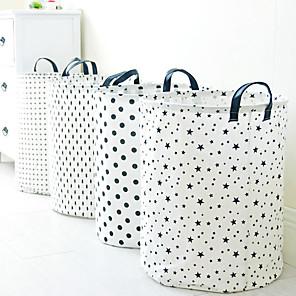 cheap Bathroom Gadgets-1pcs Leather Handle Folding Waterproof Cotton Linen Laundry Basket