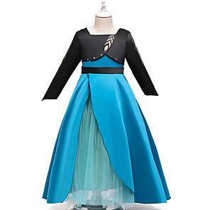 cheap Movie & TV Theme Costumes-Princess Anna Dress Flower Girl Dress Girls' Movie Cosplay A-Line Slip Blue Dress Children's Day Masquerade Tulle Polyester
