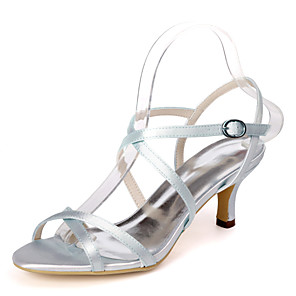 cheap Women's Sandals-Women's Wedding Shoes Spring / Summer Stiletto Heel Open Toe Minimalism Wedding Party & Evening Solid Colored Satin White / Black / Purple