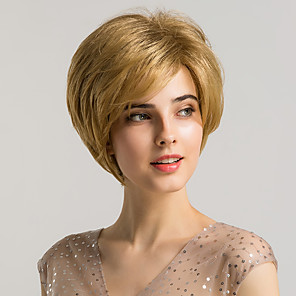 cheap Synthetic Trendy Wigs-Synthetic Wig Bangs Natural Straight Side Part Neat Bang With Bangs Wig Blonde Short Blonde Synthetic Hair 10 inch Women's Cosplay Women Synthetic Blonde HAIR CUBE