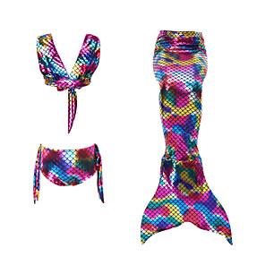 cheap Movie & TV Theme Costumes-Kids Girls' Active Cute The Little Mermaid Geometric Backless Swimwear Purple