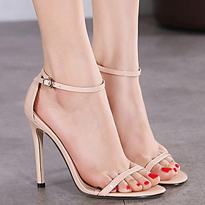 cheap Women's Sandals-Women's Sandals Summer Stiletto Heel Open Toe Daily PU Almond / White / Black