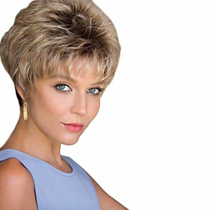 cheap Synthetic Trendy Wigs-Synthetic Wig Curly Matte Layered Haircut Wig Short Light golden Synthetic Hair 6 inch Women's Sexy Lady Comfy Fluffy Blonde