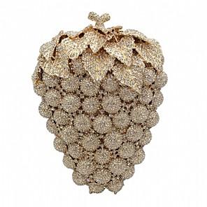 baratos Clutches & Bolsas de Noite-Mulheres Detalhes em Cristal / Vazados Liga Bolsa de Festa 2020 Côr Sólida Dourado / Prata