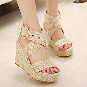 cheap Women's Sandals-Women's Sandals Wedge Sandals Summer Creepers Round Toe Daily Tissage Volant Black / Brown / Beige