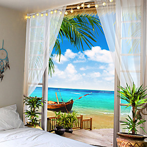 cheap Wall Tapestries-Wall Tapestry Art Decor Blanket Curtain Picnic Tablecloth Hanging Home Bedroom Living Room Dorm Decoration Holiday Vacation Beach Landscape Ocean Sea Boat