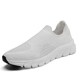 cheap Women's Sandals-Women's Trainers / Athletic Shoes Spring &  Fall / Spring Flat Heel Round Toe Casual Daily Solid Colored Tissage Volant Walking Shoes White / Black