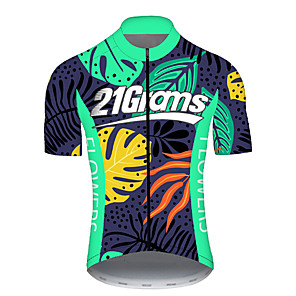 cheap Cycling Jerseys-21Grams Men's Short Sleeve Cycling Jersey Spandex Polyester Green Polka Dot Gradient Bike Jersey Top Mountain Bike MTB Road Bike Cycling UV Resistant Breathable Quick Dry Sports Clothing Apparel