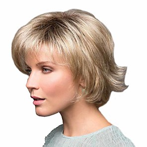 cheap Synthetic Trendy Wigs-Synthetic Wig Curly Matte Side Part Wig Short Light golden Synthetic Hair 6 inch Women's Easy dressing curling Fluffy Blonde