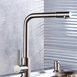 cheap Bathroom Sink Faucets-304 Stainless Steel Kitchen Faucet Hot And Cold Sitting Type Rotating Brushed Sink Sink Faucet